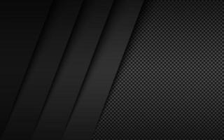 Black and grey modern material design with carbon fibre texture. Overlapped layers background. Vector abstract widescreen background