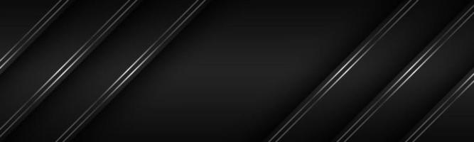 Black modern material header with diagonal silver lines. Banner for your business. Vector abstract widescreen background