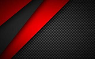 Black and red overlap layers background with carbon fibre texture. Modern material design background. Vector illustration corporate template