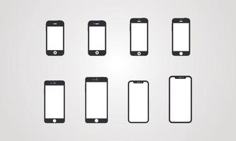 Illustration of the evolution of the smartphone vector