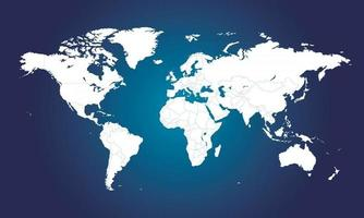 high detail political map of the world. blue and white vector