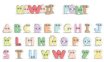 Capital letters of the alphabet kawaii style vector