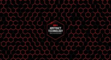 Abstract red hexagon pattern on black background. Modern lines square mesh. Simple flat geometric design. You can use for cover, poster, banner web, flyer, Landing page, Print ad. vector