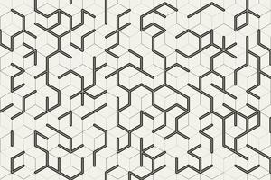Grey cube geometric pattern on white background. Modern lines square mesh. Simple flat abstract geometric design. You can use for cover, poster, banner web, flyer, Landing page, Print ad. Vector illustration
