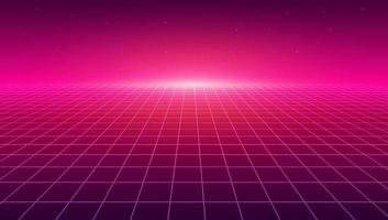 Abstract perspective grid. Retro futuristic neon line background, 80s design perspective distorted plane landscape composed of crossed neon lights and laser beams. vector