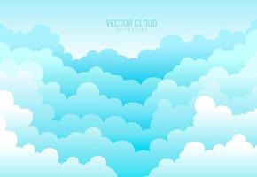Abstract soft blue sky with white clouds background in paper cut style. Border of clouds. Simple cartoon design. Flat style vector illustration.