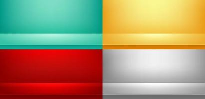 Set of studio room Green, Red, Yellow, Grey background used for Display your products, Template mock up, Business backdrop. vector