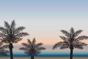 Palm trees against the background of the sea and sunset. Vector Illustration