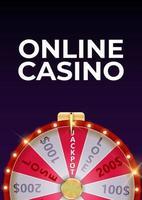 Cartel de fondo de casino en línea con rueda de la fortuna, icono de la suerte. ilustración vectorial vector