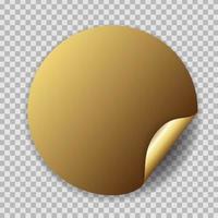 Abstract Circle Golden Sticker Vector Illustration