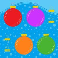 Set of flat colored isolated Christmas tree toys in the form of balls with different mountings. Simple design for decoration. On a blue background. vector