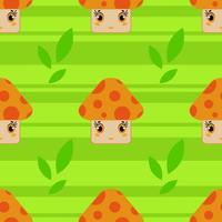 Color seamless pattern of cute smiling mushrooms on a green striped background . Simple flat vector illustration. Suitable for Wallpaper, fabric, wrapping paper, covers.