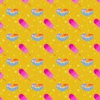 Color seamless pattern of delicious cakes and pink ice-cream with the icing. Simple flat illustration on an orange background with yellow stars vector