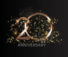 20 Years Anniversary Golden Template Vector Illustration