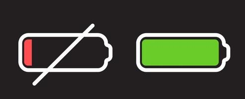 Battery Icon isolated on black. Vector Illustration