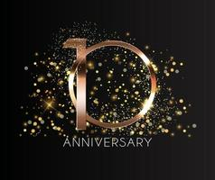 10 Years Anniversary Golden Template Vector Illustration