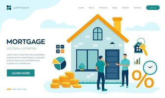 Mortgage concept. House loan or money investment to real estate. Property money investment contract. Buying Home. Real estate agent presenting house to client. vector
