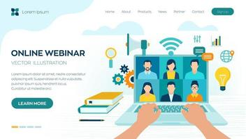 Webinar. Internet conference. Web based seminar. Distance Learning. E-learning Training business concept. Video tutorials and courses. Online meeting work form home. vector