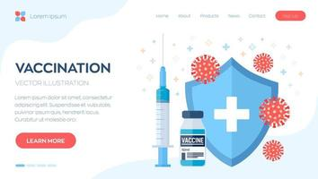 Vaccination concept. Immunization campaign. Vaccine shot. Health care and protection. Syringe with a vaccine bottle protection shield and virus. Medical treatment. vector