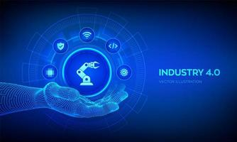 Smart Industry 4.0 symbol in robotic hand. Factory automation. Autonomous industrial technology concept. Industrial revolutions steps. Vector illustration.