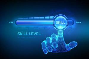 crecimiento de los niveles de habilidad. aumento del nivel de habilidades. La mano de estructura metálica está tirando hacia arriba hasta la barra de progreso de posición máxima con la habilidad de palabras. concepto de conocimiento profesional o educativo. vector