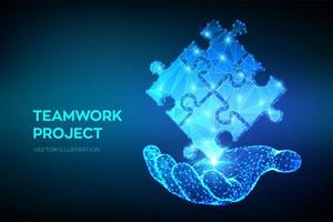 trabajo en equipo. elementos de rompecabezas en la mano. metáfora del equipo. símbolo de trabajo en equipo, cooperación, asociación, asociación y conexión. piezas de un rompecabezas poligonal. concepto de negocio de conexión. vector