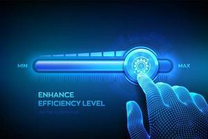 aumento del nivel de eficiencia. La mano de estructura metálica está tirando hacia arriba hasta la barra de progreso de posición máxima con el icono de eficiencia. concepto de negocio de desarrollo y crecimiento. vector