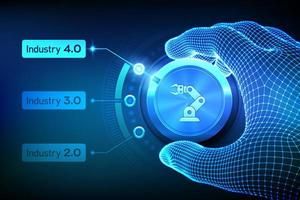 Smart Industry 4.0 concept. Industrial revolutions steps. Wireframe hand turning a knob and selecting industry 4.0 mode. Factory automation. Autonomous industrial technology. vector