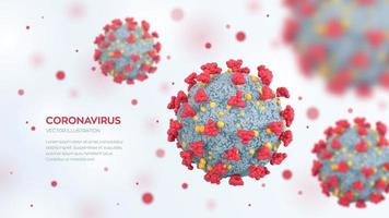 Coronavirus COVID-19 cells. Dangerous corona virus infection disease under microscope. Microscopic view of virus cells close up. SARS pandemic and contagion risk. 3D realistic illustration. vector