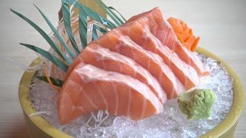 Fresh sashimi salmon set on plate video