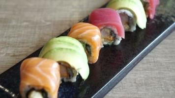 Sushi set on plate video