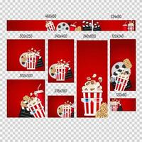 Banners of different sizes with Cinema Collection Set. Vector illustration
