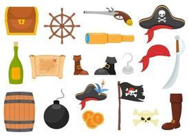 Pirate set vector design illustration isolated on white background
