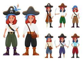 Ilustración de diseño de vector de niña pirata aislada sobre fondo blanco