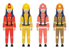 Ilustración de diseño de vector de bombero de niña aislado sobre fondo blanco