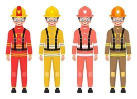 Ilustración de diseño de vector de bombero de niño aislado sobre fondo blanco