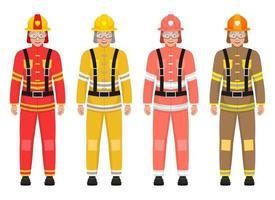 Ilustración de diseño de vector de bombero aislado sobre fondo blanco