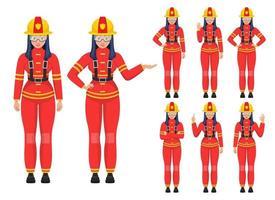 Ilustración de diseño de vector de mujer bombero aislado sobre fondo blanco