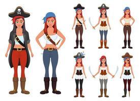 Ilustración de diseño de vector de mujer pirata aislada sobre fondo blanco