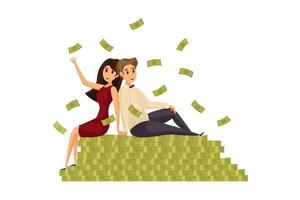 woman and girl stand on money vector