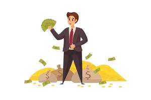 Young happy smiling rich businessman clerk manager cartoon character waving with money cash fan vector