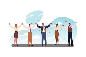 Team of happy business people coworkers clerks managers buisinessmen women standing together holding hands vector