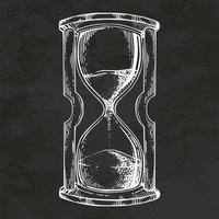 reloj de arena vidrio dibujado a mano estilo retro boceto vintage ilustración vectorial vector