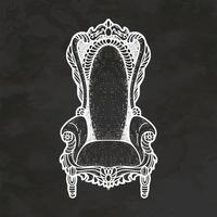 Royal Throne Hand Drawn Retro Style Sketch Vintage Illustration Vector