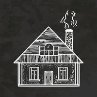 vector de ilustración vintage de bosquejo de estilo retro dibujado a mano de casa pequeña rural