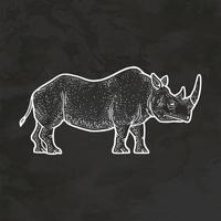 Rhinoceros Hand Drawn Retro Style Sketch Vintage Illustration Vector