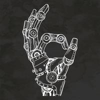 robot mano lenguaje de señas dibujado a mano estilo retro boceto ilustración vintage vector