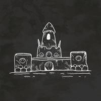 castillo de arena dibujado a mano estilo retro boceto vector de ilustración vintage