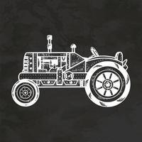 tractor viejo dibujado a mano estilo retro boceto vintage ilustración vectorial vector