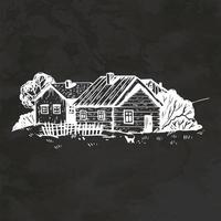 Rural Landscape Hand Drawn Retro Style Sketch Vintage Illustration Vector